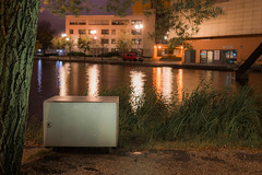 The box (Markus Lehr) Tags: box water reflection tree grass urbanspace manicuredlandscape warmlight cinematic nopeople peoplelessness nightphotography nightshot longexposure berlin germany markuslehr