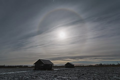 Moonlight halo ring (Jyrki Liikanen) Tags: moonbow halo haloring haloreflelction haze hazysky barn landscape landscapecapture frozen frozenland snow sky skycapture skylovers skypainter nightlight nightphotography night nightcapture nightlandscape nightclouds finland