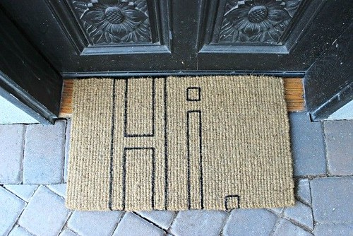 DIY Home Decor Inspiration  : A DIY Doormat. Grab a blank Coconut Fiber doormat, and add whatever cute phrase ... - #DIYHome