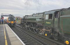 Meeting of Ages (Deepgreen2009) Tags: ages old new britannia 70013 450 desiro emu basingstoke station classic steam uksteam delay swr train railway
