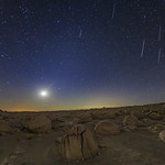 Some Geminids and the Moon Over Alien Landscape thumbnail