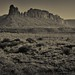 Looking Across Utah Landscape to Bridger Jack Mesa (Black & White, Bears Ears National Monument)