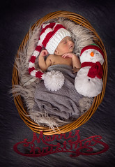 Merry Christmas - II (ajitchirme) Tags: snowman baby babyboy newborn naturallight holidayseason winter merrychristmas red hat santa christmas canon 6d