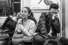Fun Time (John St John Photography) Tags: streetphotography candidphotography ctrain mta newyorkcity newyork subway girls boy youngpeople laughing havingfun people peopleofnewyork bw blackandwhite blackwhite blackwhitephotos johnstjohn
