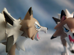 Get out of my picture! (Coyoty) Tags: macromondays doubleexposure flickrfriday getoutofmypicture lycanroc pokemon toy actionfigure macro bokeh brown white blue anger techniques effects photoshop black pointy coyote emotion