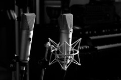 Woodworms: Mic Shootouts (Jacob Holdsworth) Tags: studio recording black white bw producer producing oxford music guitar lights light