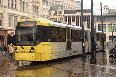 MM 3027 @ Piccadilly Gardens, Manchester (ianjpoole) Tags: manchester metrolink bombadier flexity swift m5000 3027 working service from bury interchange altrincham