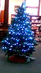 Library Christmas tree 365/41 (Maenette1) Tags: christmas tree blue lights spiespubliclibrary menominee uppermichigan flicker365 michiganfavorites project365