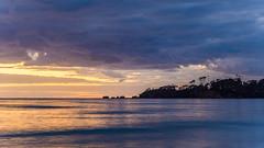 Dawn Seascape with Silhouettes (Merrillie) Tags: daybreak landscape nature australia mountains dawn newsouthwales sea water sun batemansbay beach ocean nsw southcoast waterscape coastal island scenery seascape sunrise coast clouds snapperisland