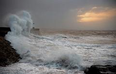PORTHCAWL LIGHTHOUSE.....Storm Eleanor...sunrise. (IMAGES OF WALES.... (TIMWOOD)) Tags: porthcawl storm eleanor lighthouse seascape wales south sea coast tide sunrise surge bridgend