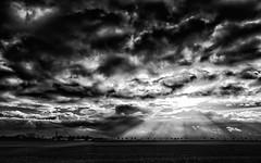 Dramatic winter sky (++sepp++) Tags: bayern deutschland lechfeld länder graben de bavaria germany landschaft landscape landschaftsfotografie wolken clouds bw blackwhite monochrom einfarbig sw schwarzweis sonnenstrahl sunrays