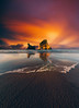 Wharariki Sunset Fire (Tim Bow Photography) Tags: timbowphotography timboss81 welsh travel traveller newzealandlandscapes newzealandlandscape whararikibeach beachreflection sunset colour colours tide