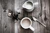 Chai tea (hey ~ it's me lea) Tags: tea cream spoon teaball teapot bw stilllife
