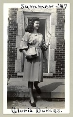 """1940s (Vintage Cars & People) Tags: vintage classic black white """"blackwhite"""" sw photo foto photography fashion girl lady brunette brooch cameo book dress shoes 1940s forties 1947 summer house home"""
