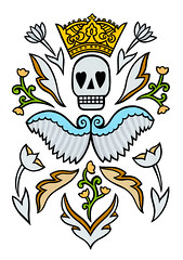 My angel (thebaggelboy) Tags: art illustration drawing mementomori dayofthedead diadelosmuertos skull death crown king popart graphic decorative ornamental abstract colorful