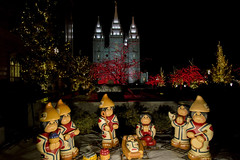 Temple Square Christmas Lights and Nativity (aaronrhawkins) Tags: christmas light display temple square salt lake city utah nativity world color bright night dark holiday season colorful crowd church mormon visit welcome aaronhawkins