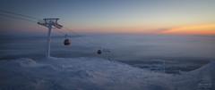 Ylläs gondola (>>Marko<<) Tags: ylläs lapland lappi suomi finland polarnight winter snow sky sunrise cloud mist panorama gondola outdoor arctichill