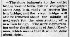 1890 - iron bridges west of town - Enquirer - 1 Aug 1890