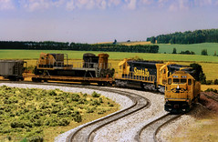 Wrecked C30-7 in Transit (Jeff Carlson_82) Tags: model modelrailroad ho hoscale atsf santafe ge c307 wreck wrecked 8050 5170 emd sd402 ericgoodman emporiasub modelrailway flatcar train railroad railfan railway
