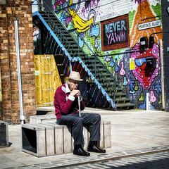 Reminiscing (viceversa62) Tags: street streetphotography scene reportage documentary d3200 nikon hull graffiti art people peoplewatching colour character eastyorkshire life lensculture streetscene photooftheday