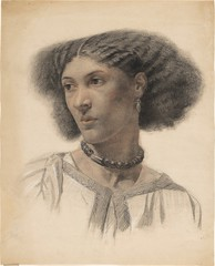 Walter Fryer Stocks — Mrs. Fanny Eaton, 1859-60. Drawing: black, red, white chalk on paper. Princeton University Art Museum. This captivating portrait drawing of the mixed-race model Fanny Eaton captures a quintessential feature of Pre-Raphaelitism: iconi (ArtAppreciated) Tags: fineart painting blogs tumblr artblogs artappreciated artoftheday artofdarkness artofdarknessco artofdarknessblog walter fryer stocks fanny eaton princeton university art museum mixed race black history pre raphaelite chalk drawing red date1859 date1860 1850s 1860s mid century 19th british artists portraiture female portraits fave beauty gaze lips commentary