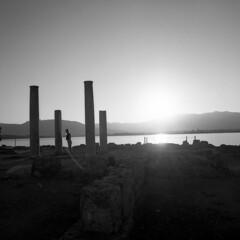 Sunset  on Nora - Nora (Sardinia) - August 2014 (cava961) Tags: sardinia backlight sunset monochrome monocromo analogue analogico bianconero bw 6x6
