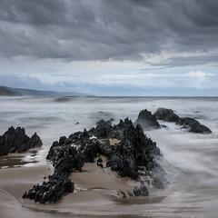 wild ocean (hjuengst) Tags: southafrica ocean indianocean plettenbergbay naturesvalley rocks longexposure clouds
