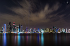 DUBAI CLOUDY NIGHT (hisalman) Tags: dubai canon longexposure night marina jbr water reflection clouds hisalman