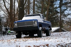 1978 Chevy Pickup (Cragin Spring) Tags: winter snow wi wisconsin midwest usa unitedstates unitedstatesofamerica tree truck pickuptruck pickup 1978 chevy chevrolet chevytruck blue twinlakes twinlakeswi twinlakeswisconsin