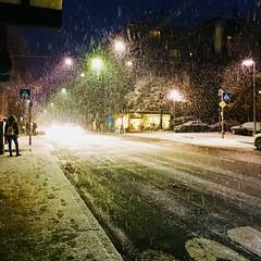 Winter in the City (bornschein) Tags: lights morning night snow winter street stuttgart city