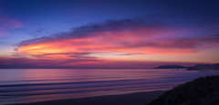 Pismo Beach Sunset (byron bauer) Tags: byronbauer pismobeach california central coast pacific ocean beach sea water sky clouds painterly red orange yellow sunset blue coastline landscape seascape wildfire smoke