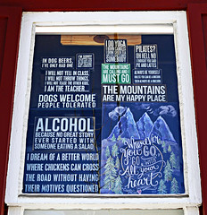 Signs of the Times (Colorado Sands) Tags: text sign colorado sandraleidholdt usa breckenridge signage alcohol themountains whereveryougo pilates yoga myhappyplace dogswelcome