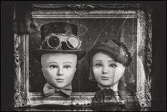 Family portrait !!! (Des.Nam) Tags: nb noiretblanc nikon nord noirblanc noir analogefex desnam d800 bw blackwhite contraste cadre encadrement frame hautdeforme chapeau voilette fille girl homme lunettes 85mmf18 elinchrome studio bas nœudpapillon têtes manequins monochrome mono silverefex hat glasses framing nylonstocking nylon