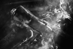 Combustion (NVenot) Tags: rocky mountain national park smoke smoking fire burn burning flames light shadow dark mitakon zhongyi 35mm f095 outdoors camp camping wood black white monochrome bw contrast