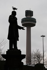 head for heights (Towner Images) Tags: liverpool england merseyside city statue garden tower beacon towner townerimages silhouette vertical seagull headforheights stjohnsgardens stjohnsbeacon gull