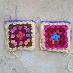 Two sets of two Roseanne Reboot granny squares joined (crochetbug13) Tags: crochetbug crochetsquares grannysquares crochetblanket crochetafghan crochetthrow roseanne roseannereboot roseannesofablanket crocheted crocheting scrapyarn yarnstash