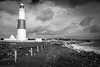 Twin lighthouses of Portland Bill (G V Fennell) Tags: clouds dorset lighthouse mono portlandbill rocks sea seascape storm water waves winter