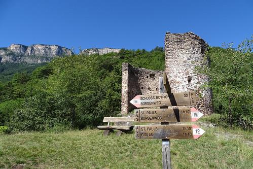 Wegweiser am Schloss Hocheppan