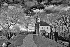 Only The Clouds (Alfred Grupstra) Tags: blackandwhite church cemetery old history tombstone england architecture religion christianity oldfashioned builtstructure buildingexterior grave outdoors tree uk nopeople chapel spirituality