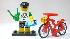 Brick Yourself Custom Lego Figure Beach Goer with Plant Phone and Bike