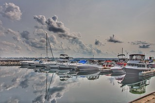 Prescott Ontario - Canada  - Prescott Heritage Harbour  - Reflection Boats
