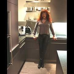 First day as Ailana in 2018..... (ailananata) Tags: tgirl transvestit transgender tranny trap tucking sandals boots crossdresser cfmshoes redhead leather leggings