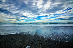 Waiting (Sarah Fraser63) Tags: nz newzealand westcoast otago coastline coast water sky clouds sand nature outside