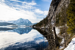 Altausseer See (dawolf-) Tags: mountain alps austria lake water winter wonderland hills snow sky blue calm travel reflection tree hike canon outdoor landscape nature walking