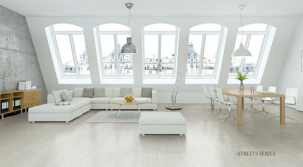 Moderne Dachgeschoß Wohnung (Euro Ceramic Tile YYC) Tags: Wohnung Zimmer  Wohnzimmer Esszimmer Dachgeschos