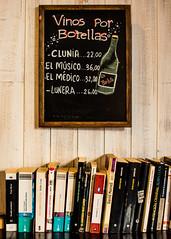 Alcoholismo literario (Lara Santaella) Tags: books bookshelf nook corner chalk chalkboard drawing bottle