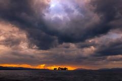 sunset 2116 (junjiaoyama) Tags: japan sunset sky light cloud weather landscape orange contrast color bright lake island water nature fall autumn rays beams