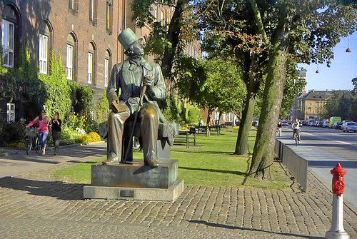 Whimsical Statue of Hans Christian Anderson in Copenhagen Denmark.