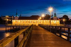 Pier in Ahlbeck (lukasz.soszynski) Tags: bałtyk morze łukasz illumination baltic sea seashore germany hdr 2017 long exposure ahlbeck blue hour sky night landscape pier shore lantern buildings outdoor color beach dusk longexposure colorful building light house restaurant seascape clouds coast architecture seaside