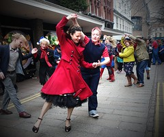 358/365 Dancing In The Streets (denise.ferley) Tags: christmas dancing adayinthecity streetphotography street sonydscrx100m2 life fun city citylife candid peoplewatching people pavement streetlife norwich oneaday england 365 3652017 uk urban thisisengland thisisnorwich
